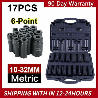 "16 Piece 1/2"" Drive Metric Deep Impact Socket Set 10-32mm in Case Garage Quality"