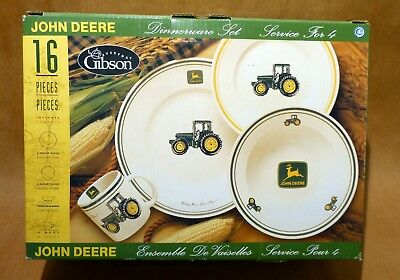 New In Box John Deere 16 Pc Gibson Dinnerware Set By Service For Four