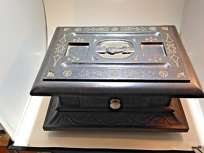 Rare Antique Welsh Slate Folk Art Marriage Box. Circa early 1800's