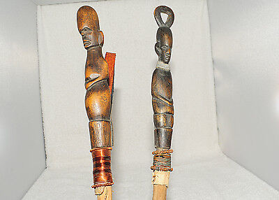 """Lot of 2 Custom 18"""" Hand Carved African Wands"""