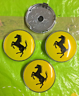 Ferrari Wheel Centre Cap 60mm Yellow / Black Set Of 4 Hub Caps Emblem Badge Logo