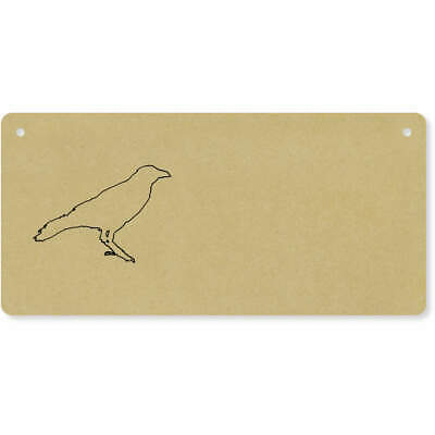 Door Sign 'Crow Outline' Wooden Wall Plaque DP00006065