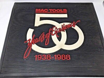 """Mac Tools~50 Years of Excellence~Rubber Floor Mat~1938 - 1988~22 x 20""""~Man Cave~"""