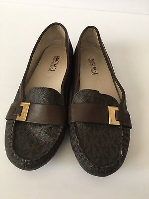 Michael Michael Kors signature leather Moc Flats MK Buckle Loafers Brown Sz 7