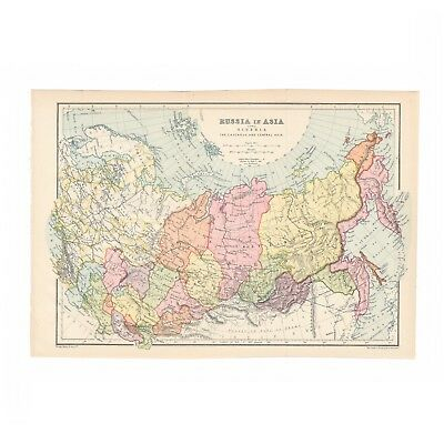 Antique color map of Russia in Asia (including Siberia) from 1905 encyclopedia