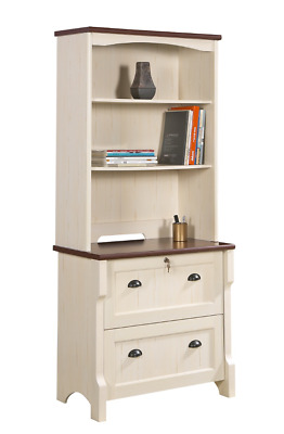 Lateral file with hutch wall unit book shelf cabinet