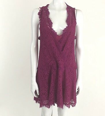 67c2594ecc451 Free People Heart In Two Bright Orchid Crochet Lace Mini Dress Size Small