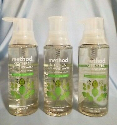 Method Basil Kitchen Gel Hand Wash Soap 12 Fl.oz Lot 3 New