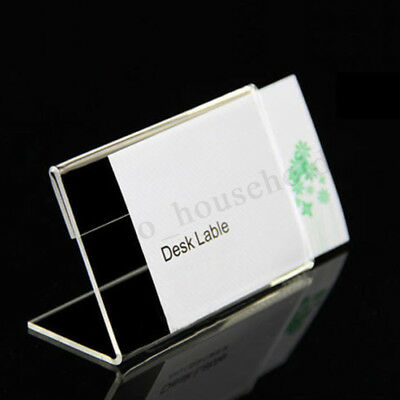 20-100Pcs 9x6cm Acrylic Sign Display Holder Label Price Name Card Tag Shop Stand