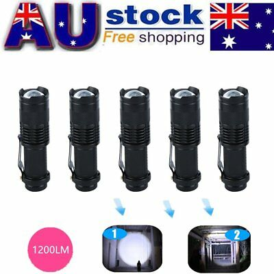 5x CREE Q5 LED Zoomable Focus Bright Flashlight Torch 1200LM Light 14500GN