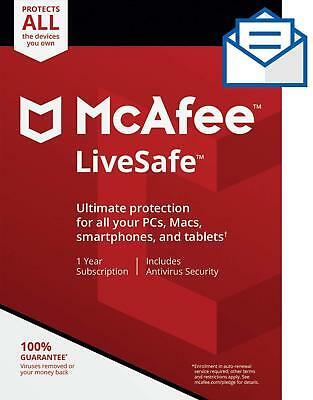 Mcafee LiveSafe 2018 ✅2 Year Subscription-Unlimited Device✅100% Original Account