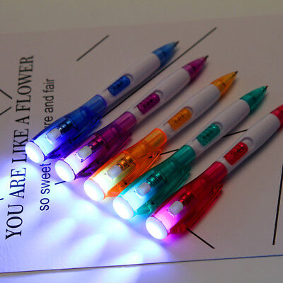 Cute Multi-functional LED Light Ballpoint Pens Stationery School Office Supplies
