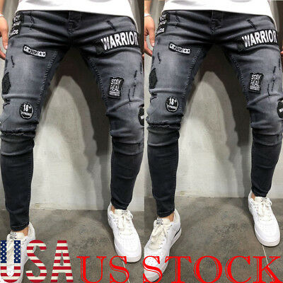 Mens Fashion Slim Fit Ripped Skinny Stretch Biker Zip Jeans Pencil Pant Trousers
