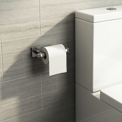 Stainless Steel Bathroom Toilet Roll Paper Holder Hook Wall Accessories Square E