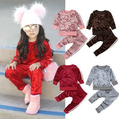 Toddler Kids Baby Girl Boys Velvet Top Sweatshirt Pants Outfits Clothes UK Stock