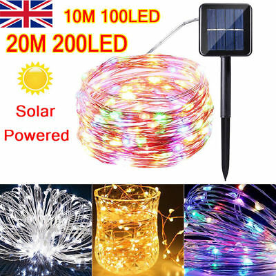 LED Solar String Lights Waterproof 10/20M Copper Wire Fairy Outdoor & Garden UKE