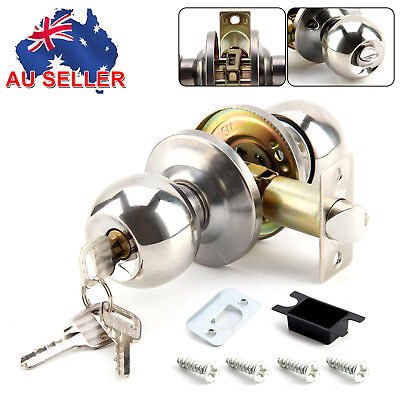 Entrance Style Stainless Satin Modern Steel Door Lock Knobs Round Handles Set