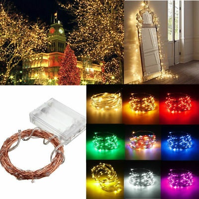 2M/5M/10M 50/100LEDs Battery Operated Mini LED Copper Wire String Fairy Lights