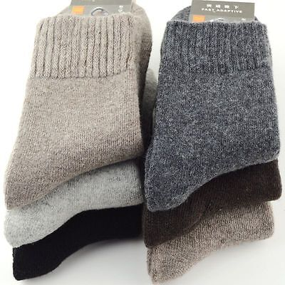 4 Pairs Mens Wool Cashmere Winter Thick Warm Solid Casual Sports Socks US 6-10