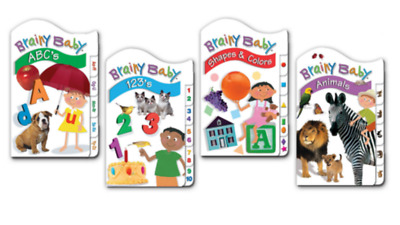 Brainy Baby Board Books NEW Lot of 4 Animals ABC's 123's Shapes & Colors Ages 3+