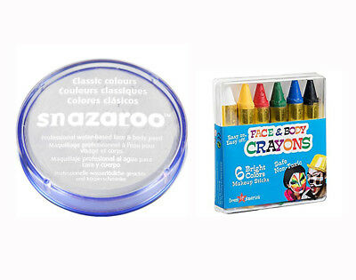 18ml WHITE SNAZAROO FACE & BODY PAINT & CRAYON SET Halloween Clown Colours
