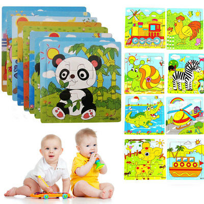 Wooden Puzzle Jigsaw Cartoon Kids Baby Educational Learning Puzzle Toys 9pcs