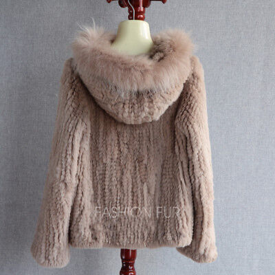 2018 New Fashion Hood Womens Casual Real REX Rabbit Fur Knitted Jacket Coat