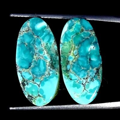 11.00Cts 100% Natural Tibet Turquoise Oval Pair Cabochon Loose Gemstone