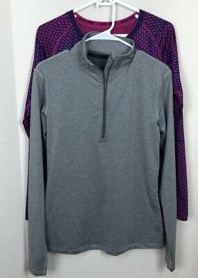 Lot Of 2 Nike Womens Dri-Fit 1/4 Zip Athletic Pullover And Nike Combat L