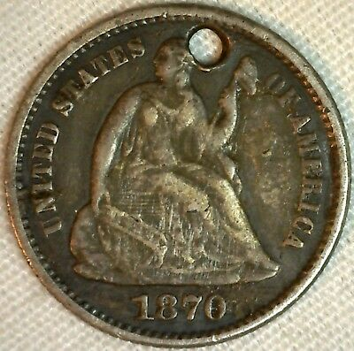 1870 Silver Seated Liberty Half Dime US Type Coin Love Token SI Etching  5c K