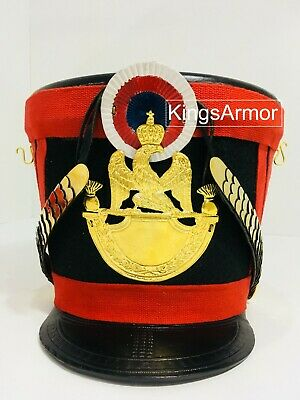 Brown Colour French Napoleonic Shako Helmet with Red Plume by KingsArmor