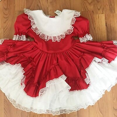 Vintage  Girls White Red Lace Ruffle Twirl Ribbon Frilly Dress Holiday Christmas