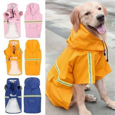 UK Waterproof Pet Dog Coat Jacket Vest Raincoat Clothes Dog Rain Coat Reflective