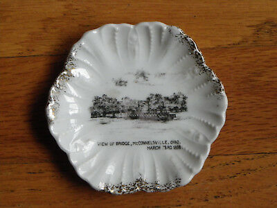 "Antique 3 3/4"" Souvenir Dish-1898 Bridge View-McConnelsville Ohio-Harter-Austria"