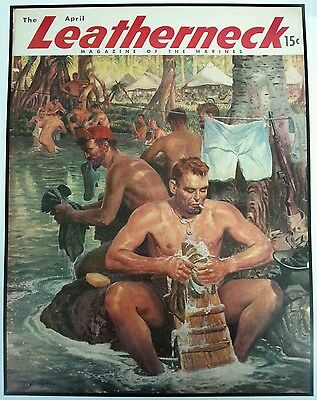 1945 Leatherneck Cover Print Gay Interest Naked Marine River Art