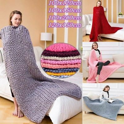 Chunky Knitted Thick Blanket Hand Yarn Wool Bulky Warm Large Soft Bed Sofa Sleep