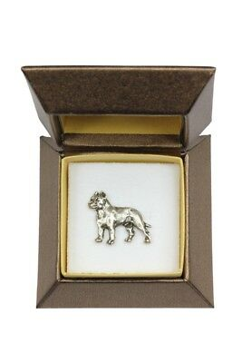 Cane Corso - silver plated pin with image of a dog in box, Art Dog UK