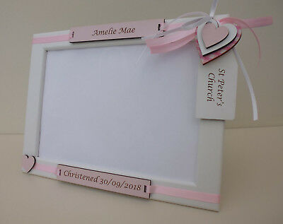 Personalised Engraved 5x7 CHRISTENING Photo Frame WHITE with PINK BLUE or BEIGE