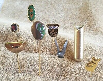 Lot of 8 Vintage Antique Stick Pin Napier Enamel Bud Vase Germany Koala Pewter