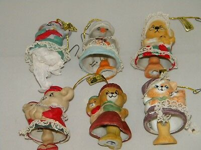 Lot Of 6 Vintage Jasco Caring Critter Chimers ~ Christmas Bells/Ornaments