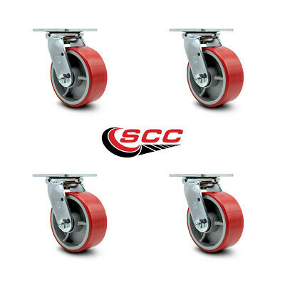 "SCC 5"" x 2"" Red Polyurethane Wheel Swivel Casters - Set of 4"