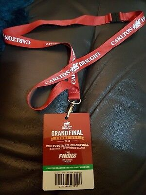 2018 AFL Grand Final CARLTON DRAUGHT FRONT BAR LANYARD West Coast & Collingwood