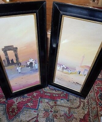 pair of early 19thc antique signed french eastern paintings in ebonised frames