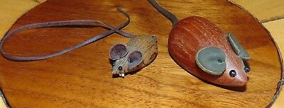 Pair of Vintage Danish & Japan Wooden Mice Leather Ears Tails