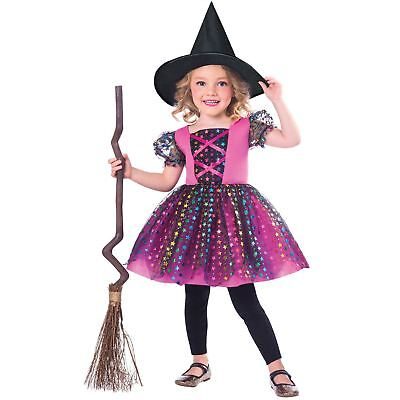 Girls Witch Costume Rainbow Child Halloween Tutu Fancy Dress Outfit Toddler Kids