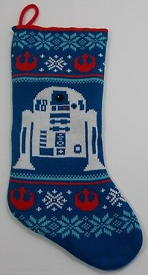 """Star Wars R2D2 Droid Knit 18"""" Christmas Stocking New Without Tags"""