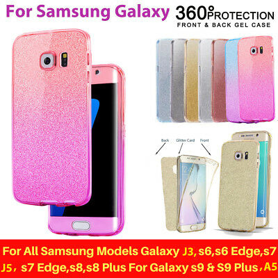 For Samsung Galaxy S6 S7 S8+ S9 J3 A3 A5 360 Slim Bling Silicone Gel Case Cover