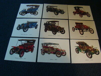 Vintage Cities Service Collection Of 9 Color Prints Of Antique Automobiles
