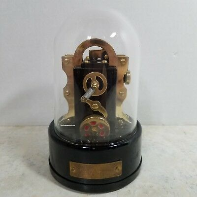 Vintage Edison Stock Market Ticker Tape Machine Replica Desk Lighter Glass Dome