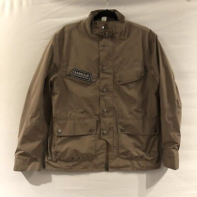Barbour International Rainton Jacket Large Mens Tan Khaki Lightweight Waterproof